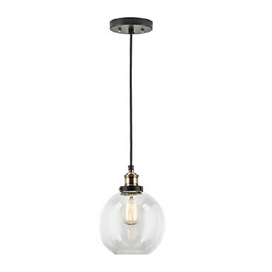 Industrial Factory Pendant Lamp Antique Brass One Light Fixture Glass Shade