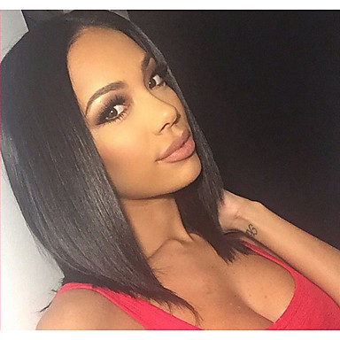 middle length black color straight hair european weave wig