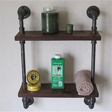Vintage wrought iron pipe double tier metal bathroom shelf para banheiro bath shelves bathroom for Wrought iron bathroom hardware
