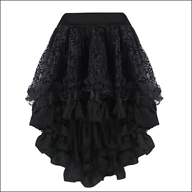 women's ruffle/lace shaperdiva black middle skirt satin