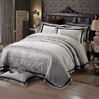 black and gray queen king size bedding set luxury silk cotton blend duvet cover sets 4981119. Black Bedroom Furniture Sets. Home Design Ideas