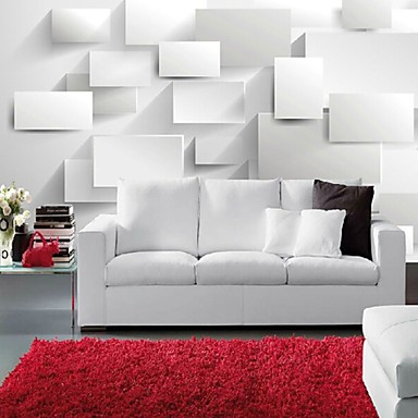 modern 3d shinny leather effect large mural wallpaper white cubes art wall decor for living room. Black Bedroom Furniture Sets. Home Design Ideas