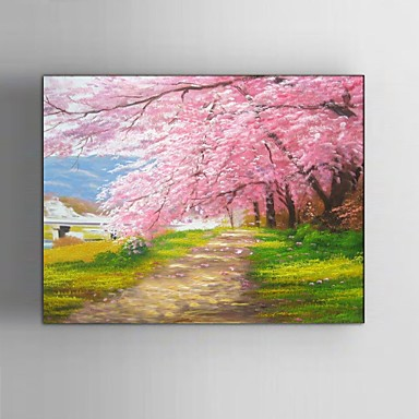 Cherry Blossom Canvas Wall Art ready to hang stretched frame hand-painted oil painting canvas