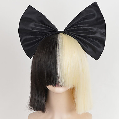 new big bow and hairnet black half blonde sia styling