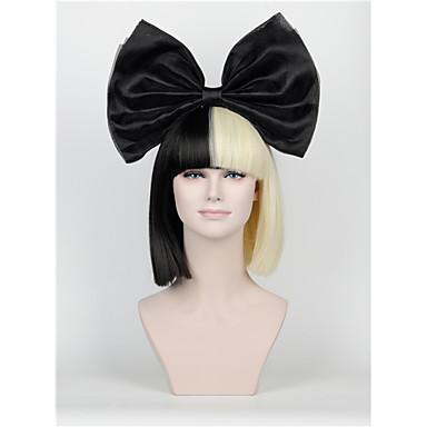 synthetic wig new short hair bow set long bangs half black