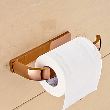 Rose gold bathroom accessories solid brass toilet paper for Rose gold bathroom set