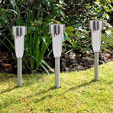 set of 8 white stainless steel solar path lights lawn lamp