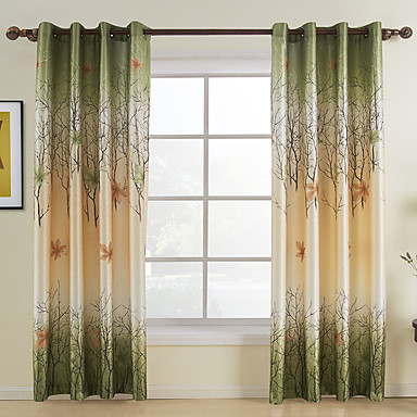 Curtains Ideas country home curtains : Two Panels Curtain Country , Leaf Living Room Polyester Material ...