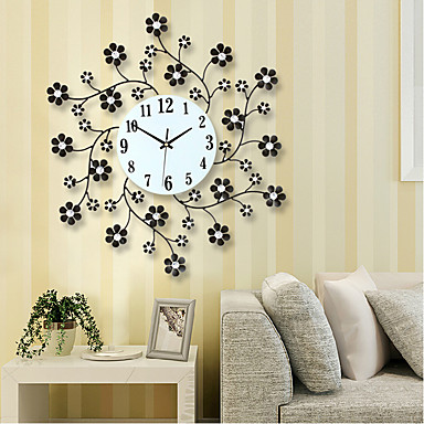 free shipping pastoral flower iron rhinestone living room bedroom watch clocks large decorative wall clock saat horloge murale u2013