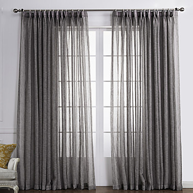 Two Panels Curtain Country Solid Living Room Linen