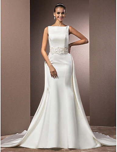Mermaid trumpet bateau neck cathedral train satin for Mermaid wedding dresses under 500