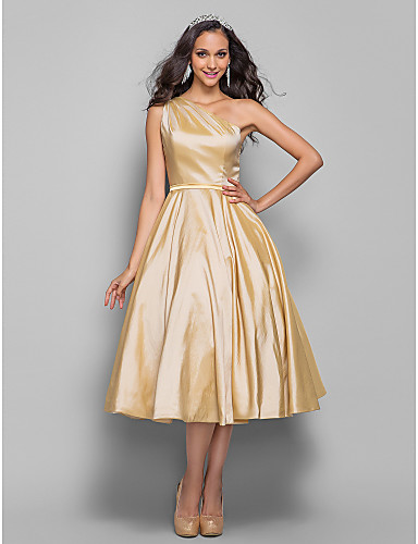 A-Line Princess One Shoulder Tea Length Taffeta Cocktail ...