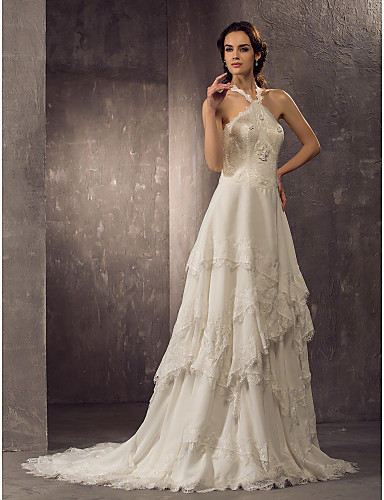 Sheath column halter court train chiffon lace wedding for Jewelry for halter wedding dress