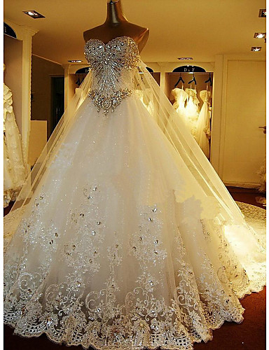 a line sweetheart cathedral train tulle wedding dress with beading appliques embroidered 2688135 2017 29999