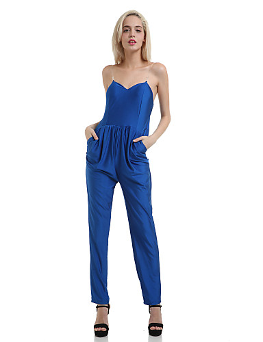 Fantastic Women V Neck Strappy Wide Leg Royal Blue Jumpsuit - Online Store For Women Sexy Dresses