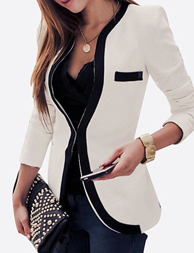 Women's Plus Size All Seasons Blazer,Color Block Long Sleeve White ...
