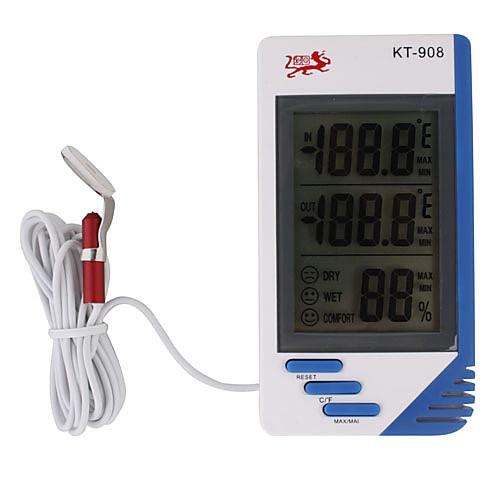 кт-908 ЖК-дисплей Цифровой термометр гигрометр температуры и влажности часы тестер метр портативный Lightinthebox 298.000