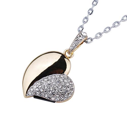 8gb кристалл в форме сердца, USB Flash Drive ожерелье (золото) Lightinthebox 384.000