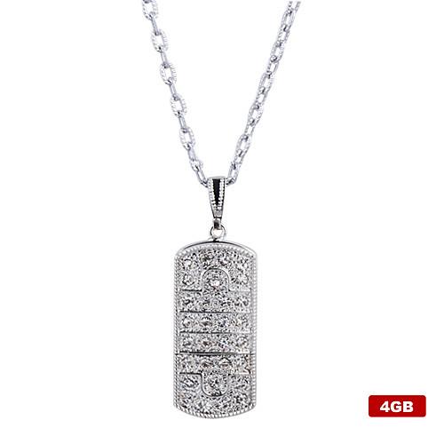 4gb нержавеющей стали кристалл стиль USB Flash Drive ожерелье (серебро) Lightinthebox 386.000