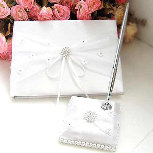 белый и слоновая кость атласные свадьбы горный хрусталь гостевая книга и перо набор Lightinthebox