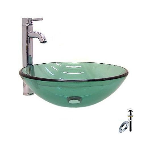 Победа круглые прозрачно закаленное раковины стеклянный сосуд с хром смеситель, монтаж кольца и канализации (0917-vt4056) Lightinthebox 5585.000