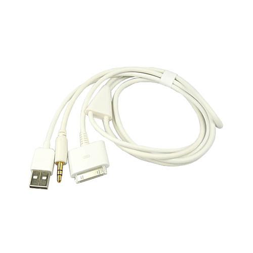 3-в-1 USB 3.5 мм AUX аудио / данные / зарядное устройство кабель для Ipod, iphone и IPad (белый) Lightinthebox 128.000