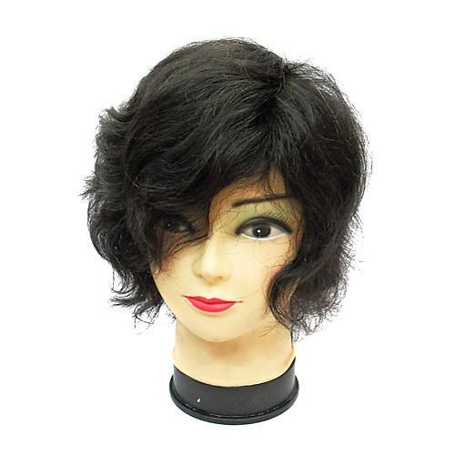 монолитным коротких волнах коричневый 100% человеческих волос парик Lightinthebox 3222.000