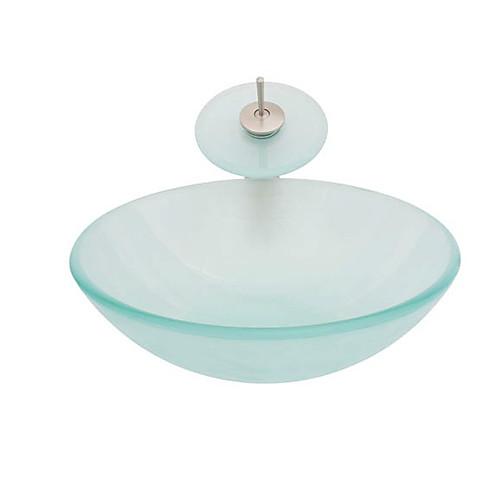 Круглый умывальник из закаленного полупрозрачного стекла со смесителем-водопадом, монтировочным кольцом и сливом (0917-VT4067) Lightinthebox 6831.000