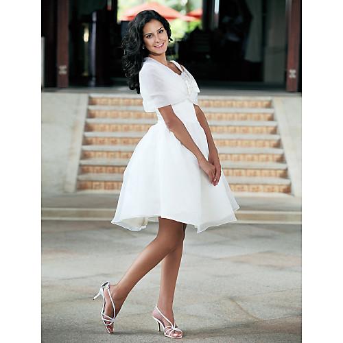 Короткое свадебное платье из органзы с накидкой Lightinthebox 2921.000