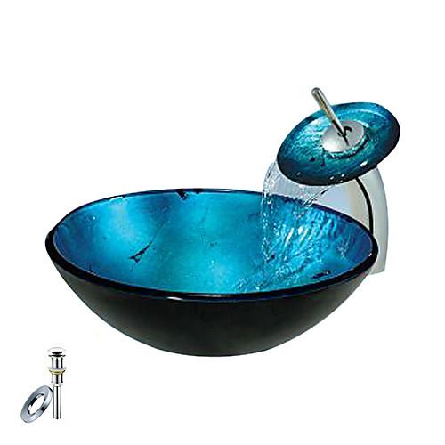 синий круглый закаленное раковины стеклянный сосуд с водопадом крана, кольцо крепления и канализации (0888-C-Блай-6438-WF) Lightinthebox 8164.000