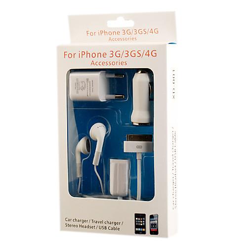 Зарядный набор 5-в-1 (авто адаптер/дорожный адаптер/стерео наушники/USB кабель/аудио разветвитель) для iPhone 3G/3GS/4G Lightinthebox 416.000