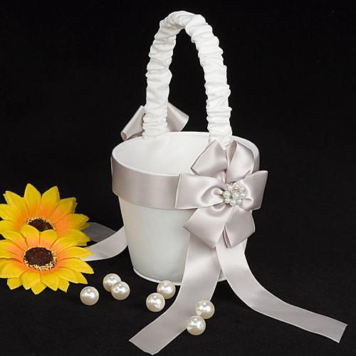 Цветочная корзина девушка в белом атласе с искусственной звон Lightinthebox 495.000
