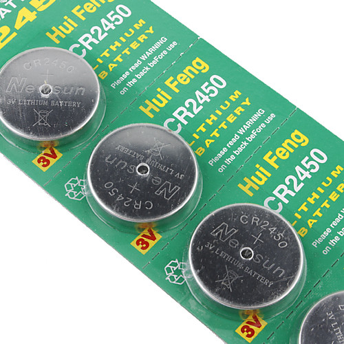 CR2450 3v высокой емкости литий кнопку батарейки (5-упаковке) Lightinthebox 169.000