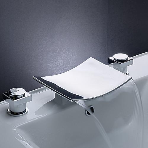 латуни водопад ванной комнате раковина смеситель с изливом из нержавеющей стали (широкое) Lightinthebox 4296.000