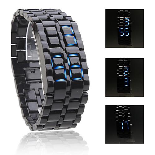 Водостойкие спортивные наручные часы унисекс с синими светодиодными цифрами (цвет звеньев черный) Lightinthebox 162.000