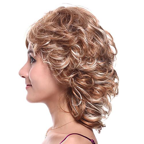 монолитным средней длины высококачественных синтетических блондинку с светлый блондин кудрявый парик волос Lightinthebox 1224.000