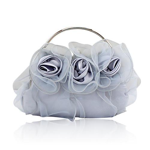 шелковой оболочки с цветком сумки вечер / муфты / верхом обрабатывать большее количество цветов