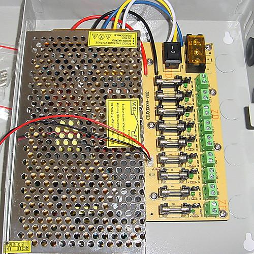 9-канальный 12 В DC 10А регулируемый источник питания для системы видеонаблюдения Lightinthebox 900.000