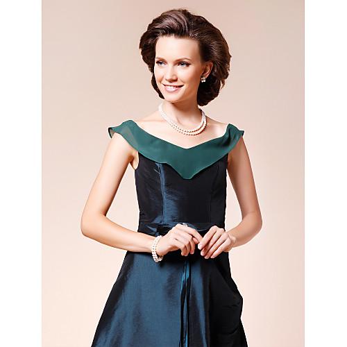 Платье для дам вечернее ассиметричное  из шифона и тафты, силуэт трапеция