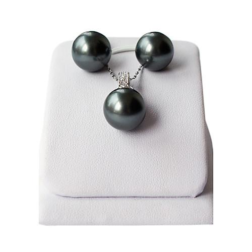 14мм черный жемчуг пресной воды с 925 ожерелье и серьги серебро комплект ювелирных изделий Lightinthebox 1333.000