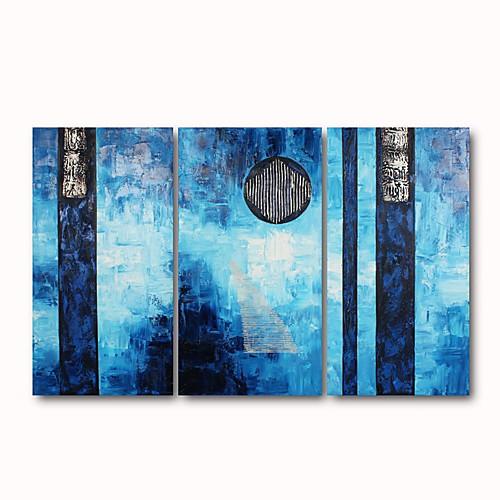 ручная роспись абстрактной живописи маслом с натянутой рамы - набор из 3 Lightinthebox 4296.000
