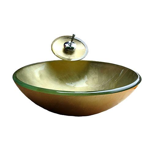Победа круглый золотой закаленное раковины стеклянный сосуд с водопадом крана, кольцо крепления и канализации (0917-vt4042) Lightinthebox 6831.000