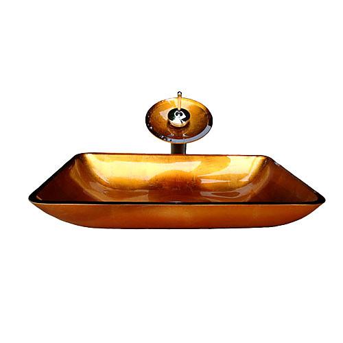 Победа прямоугольных золотых закаленное раковины стеклянный сосуд с водопадом крана, кольцо крепления и канализации (0917-vt4025) Lightinthebox 6617.000