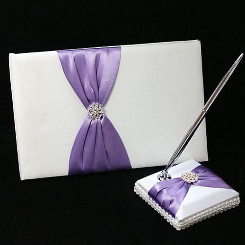 шикарный свадебный гостевая книга и ручка устанавливается в атлас с сиреневым поясом и стразами