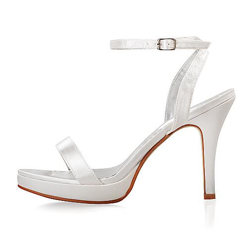 слинг назад стилет каблук атласные сандалии свадебные женская обувь (больше цветов) Lightinthebox 811.000