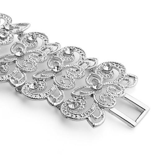 Изящные женские аналоговые кварцевые часы-браслет из сплава в форме цветов со стразами (серебристый) Lightinthebox 343.000