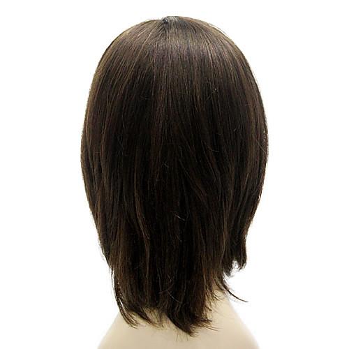 Парик из 100% натурального черного прямого волоса средней длины