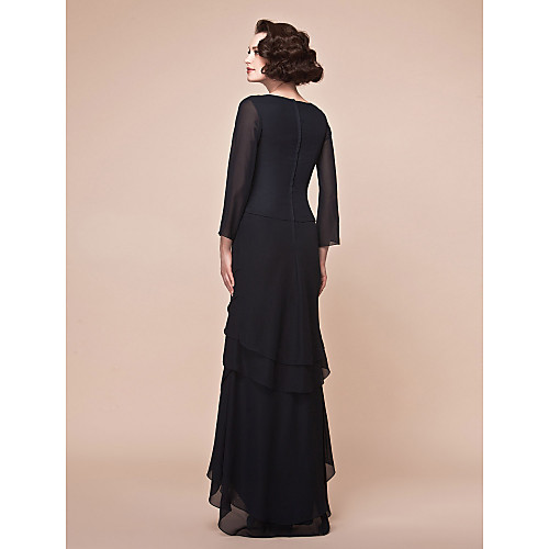 -Line V-образным вырезом асимметричный шифон мать невесты платье (172684) Lightinthebox