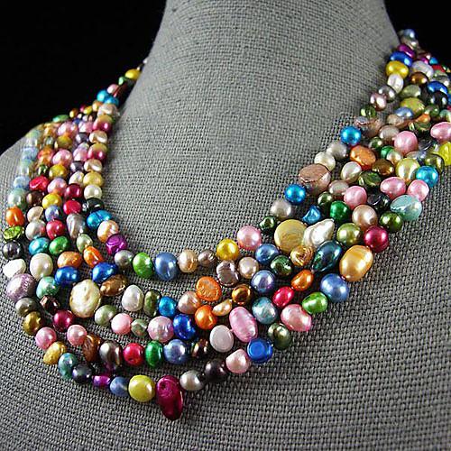 4-10мм радуга цвета подлинной пресноводные жемчужные ожерелья - 100 дюймов Lightinthebox 2199.000
