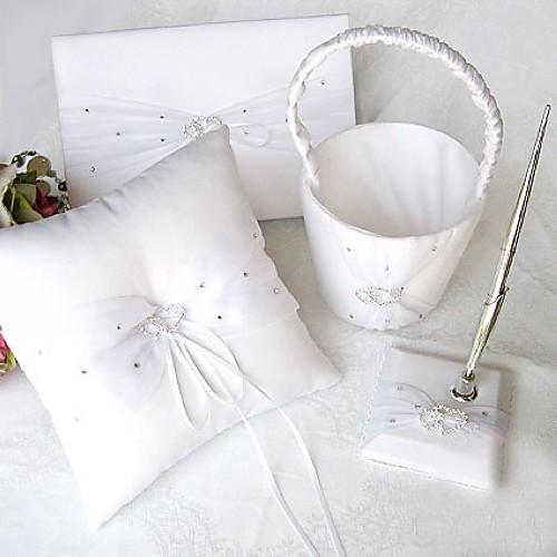 связаны сердца белого атласа свадьбы набор сбора с горный хрусталь (4 шт) Lightinthebox 1503.000